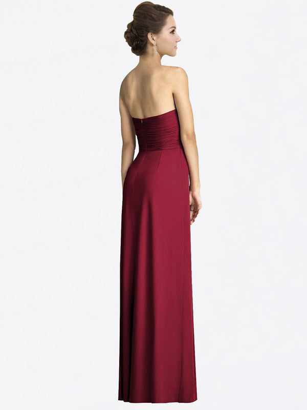 Long A-Line Sweetheart Sleeveless Burgundy Chiffon Bridesmaid Dress Jacqueline