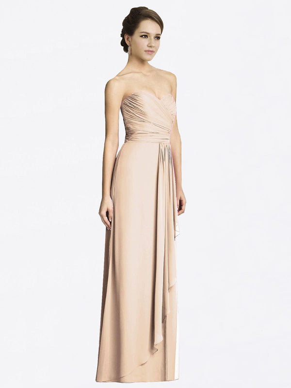 Long A-Line Sweetheart Sleeveless Champagne Chiffon Bridesmaid Dress Jacqueline