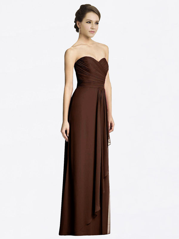 Long A-Line Sweetheart Sleeveless Chocolate Chiffon Bridesmaid Dress Jacqueline