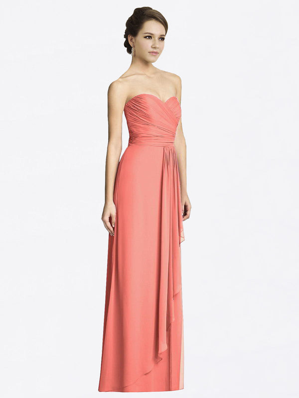 Long A-Line Sweetheart Sleeveless Coral Chiffon Bridesmaid Dress Jacqueline