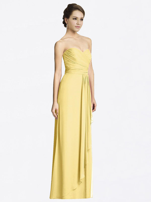 Long A-Line Sweetheart Sleeveless Daffodil Chiffon Bridesmaid Dress Jacqueline
