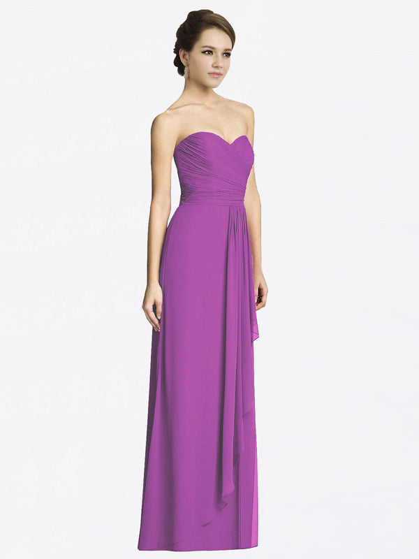 Long A-Line Sweetheart Sleeveless Dahlia Chiffon Bridesmaid Dress Jacqueline
