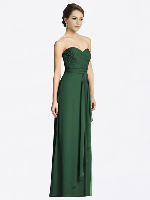 Long A-Line Sweetheart Sleeveless Dark Green Chiffon Bridesmaid Dress Jacqueline