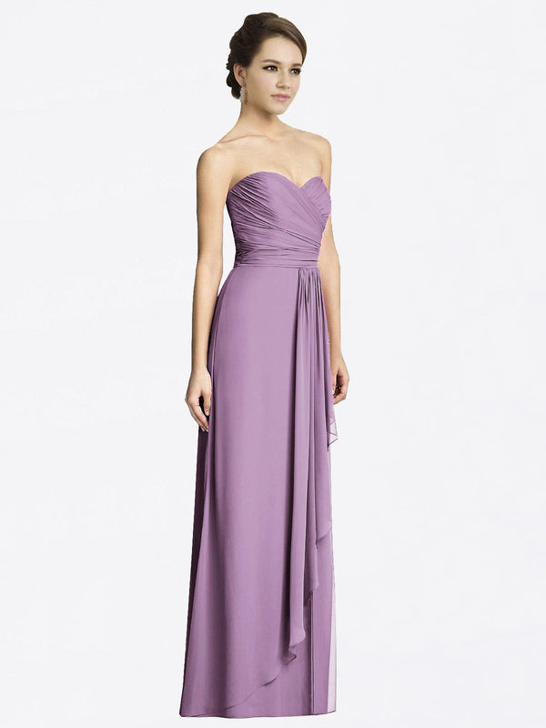 Long A-Line Sweetheart Sleeveless Dark Lavender Chiffon Bridesmaid Dress Jacqueline