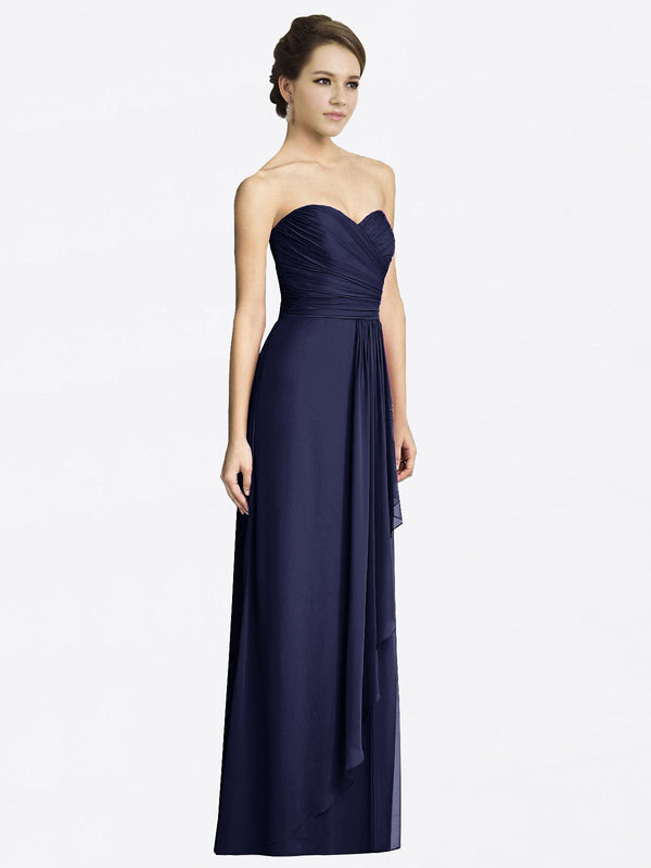 Long A-Line Sweetheart Sleeveless Dark Navy Chiffon Bridesmaid Dress Jacqueline