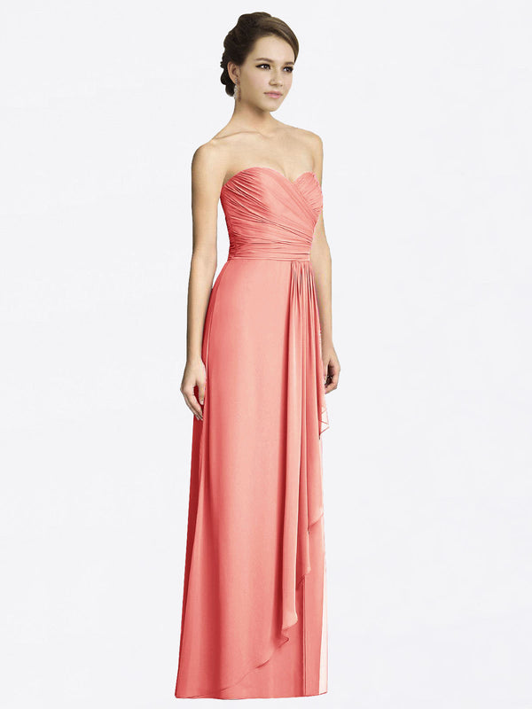 Long A-Line Sweetheart Sleeveless Desert Rose Chiffon Bridesmaid Dress Jacqueline