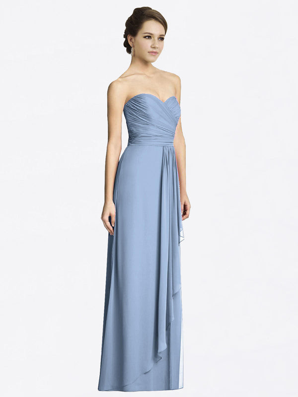 Long A-Line Sweetheart Sleeveless Dusty Blue Chiffon Bridesmaid Dress Jacqueline