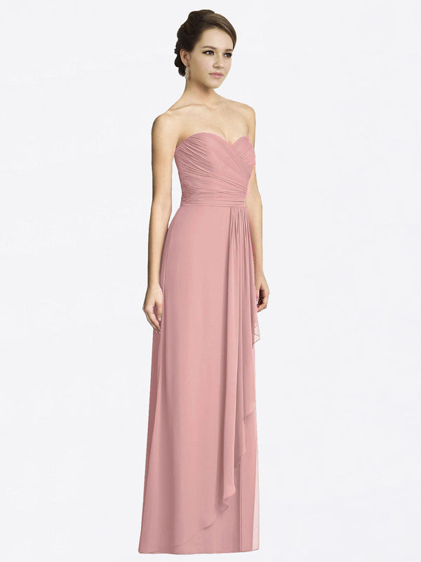 Long A-Line Sweetheart Sleeveless Dusty Pink Chiffon Bridesmaid Dress Jacqueline