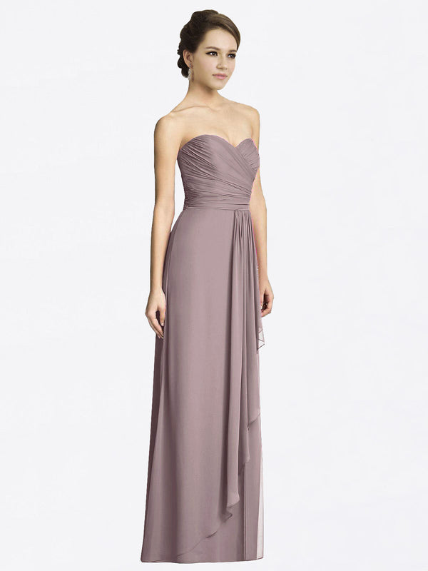 Long A-Line Sweetheart Sleeveless Dusty Rose Chiffon Bridesmaid Dress Jacqueline