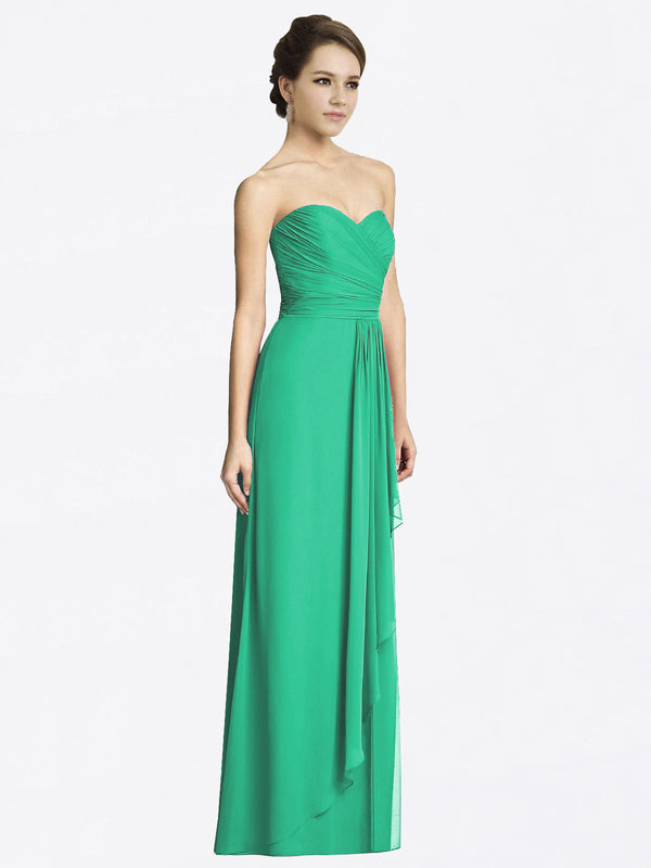 Long A-Line Sweetheart Sleeveless Emerald Green Chiffon Bridesmaid Dress Jacqueline