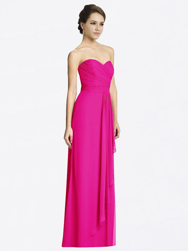 Long A-Line Sweetheart Sleeveless Fuchsia Chiffon Bridesmaid Dress Jacqueline
