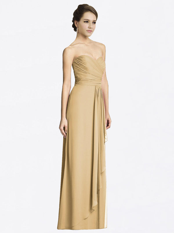 Long A-Line Sweetheart Sleeveless Gold Chiffon Bridesmaid Dress Jacqueline
