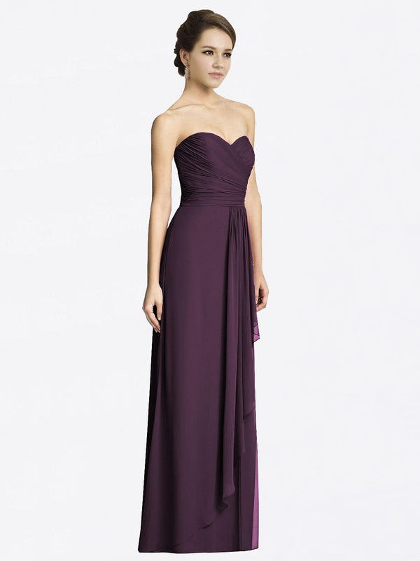 Long A-Line Sweetheart Sleeveless Grape Chiffon Bridesmaid Dress Jacqueline