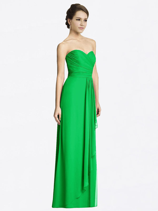 Long A-Line Sweetheart Sleeveless Green Chiffon Bridesmaid Dress Jacqueline