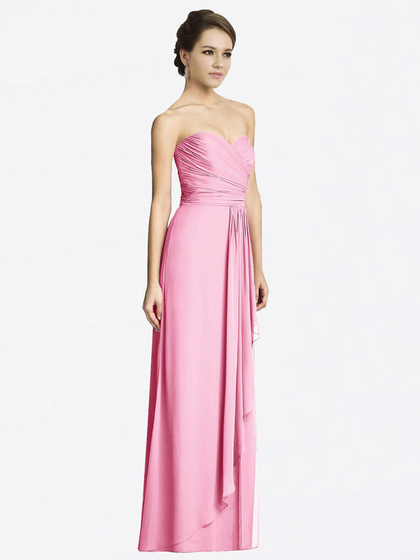 Long A-Line Sweetheart Sleeveless Hot Pink Chiffon Bridesmaid Dress Jacqueline