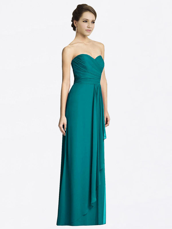 Long A-Line Sweetheart Sleeveless Hunter Chiffon Bridesmaid Dress Jacqueline