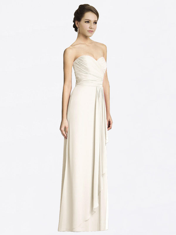 Long A-Line Sweetheart Sleeveless Ivory Chiffon Bridesmaid Dress Jacqueline