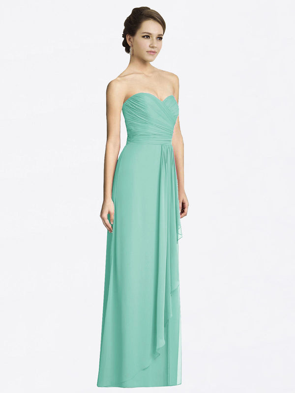 Long A-Line Sweetheart Sleeveless Jade Chiffon Bridesmaid Dress Jacqueline