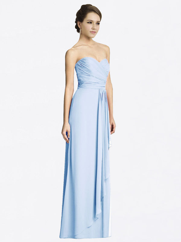 Long A-Line Sweetheart Sleeveless Light Sky Blue Chiffon Bridesmaid Dress Jacqueline