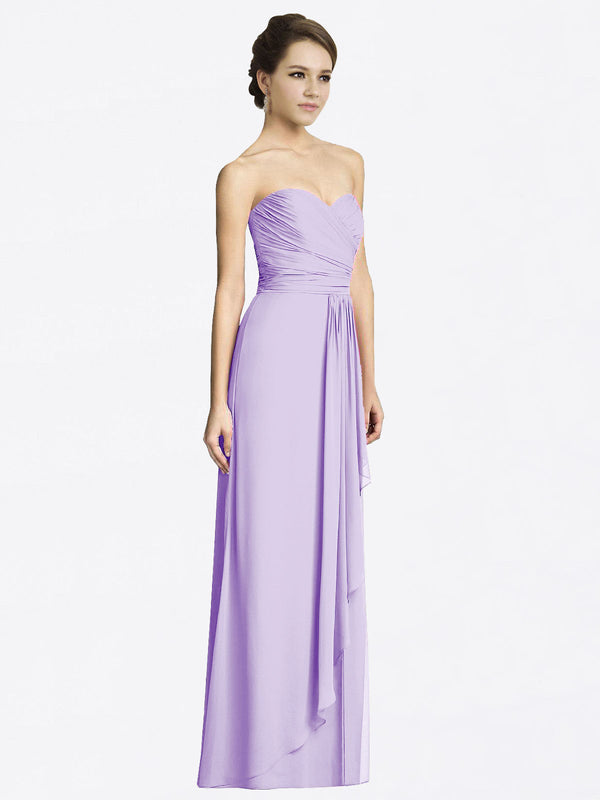 Long A-Line Sweetheart Sleeveless Lilac Chiffon Bridesmaid Dress Jacqueline