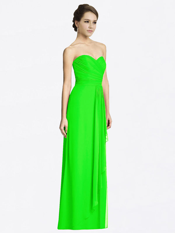 Long A-Line Sweetheart Sleeveless Lime Green Chiffon Bridesmaid Dress Jacqueline