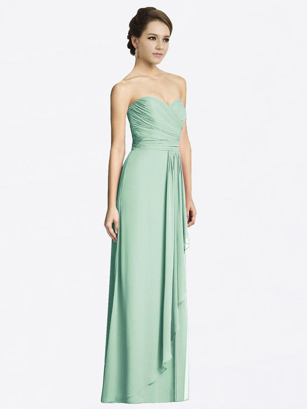 Long A-Line Sweetheart Sleeveless Mint Green Chiffon Bridesmaid Dress Jacqueline