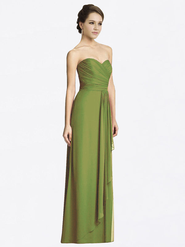 Long A-Line Sweetheart Sleeveless Olive Green Chiffon Bridesmaid Dress Jacqueline