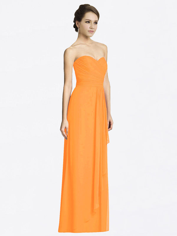 Long A-Line Sweetheart Sleeveless Orange Chiffon Bridesmaid Dress Jacqueline