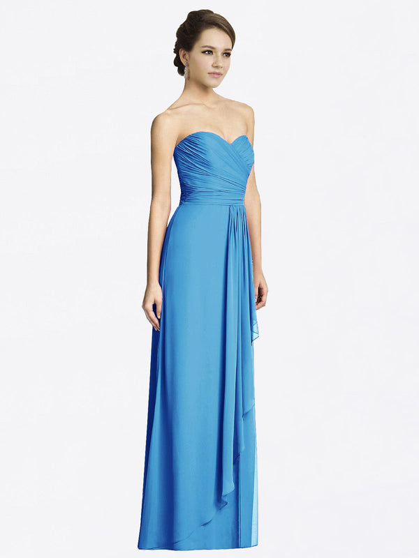 Long A-Line Sweetheart Sleeveless Peacock Blue Chiffon Bridesmaid Dress Jacqueline