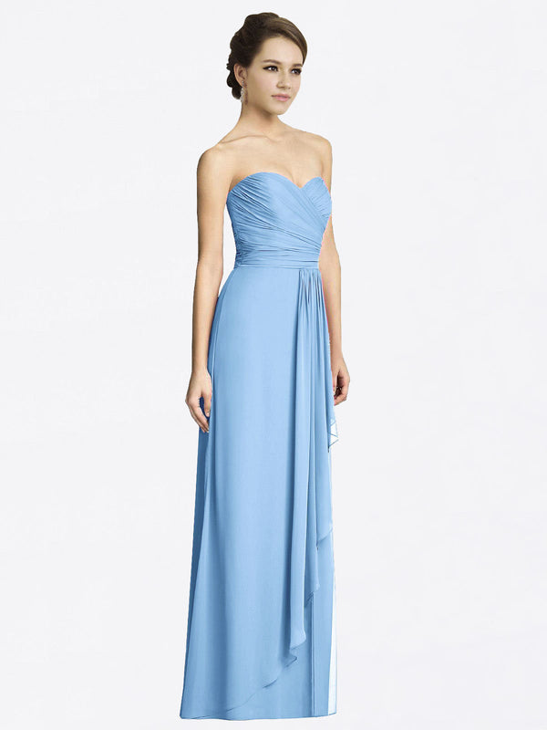 Long A-Line Sweetheart Sleeveless Periwinkle Chiffon Bridesmaid Dress Jacqueline