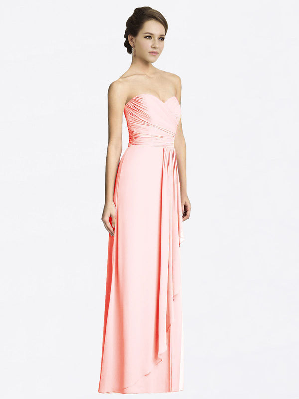 Long A-Line Sweetheart Sleeveless Pink Chiffon Bridesmaid Dress Jacqueline