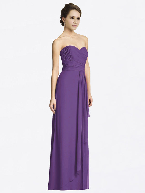 Long A-Line Sweetheart Sleeveless Plum Purple Chiffon Bridesmaid Dress Jacqueline