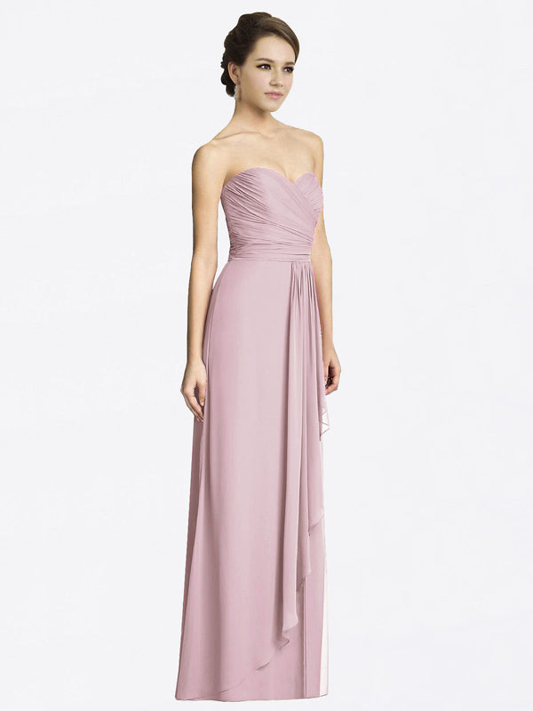 Long A-Line Sweetheart Sleeveless Primrose Chiffon Bridesmaid Dress Jacqueline
