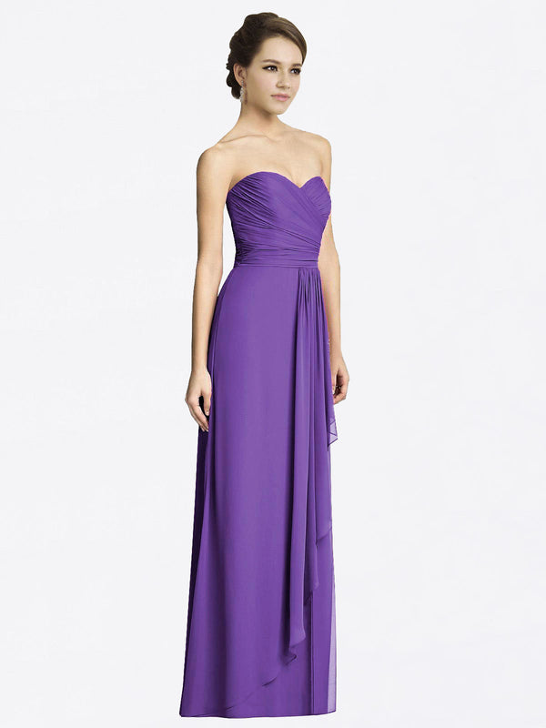 Long A-Line Sweetheart Sleeveless Purple Chiffon Bridesmaid Dress Jacqueline