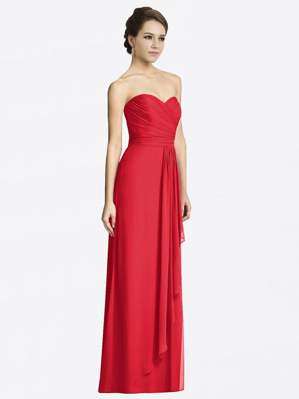 Long A-Line Sweetheart Sleeveless Red Chiffon Bridesmaid Dress Jacqueline