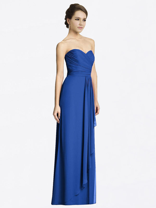 Long A-Line Sweetheart Sleeveless Royal Blue Chiffon Bridesmaid Dress Jacqueline