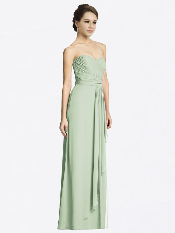 Long A-Line Sweetheart Sleeveless Sage Chiffon Bridesmaid Dress Jacqueline