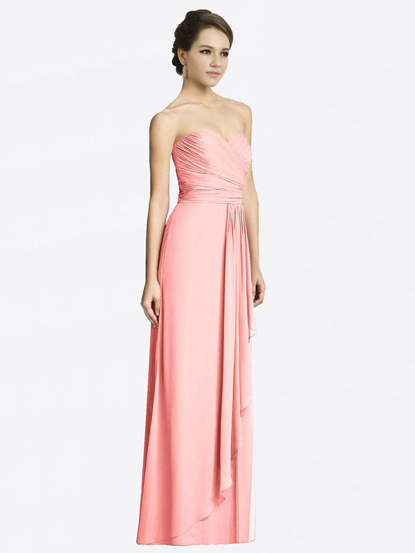 Long A-Line Sweetheart Sleeveless Salmon Chiffon Bridesmaid Dress Jacqueline