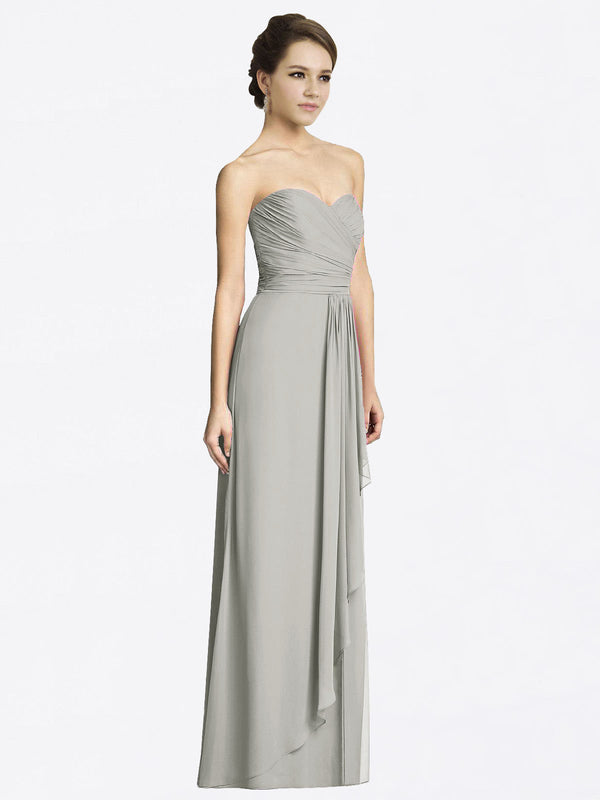 Long A-Line Sweetheart Sleeveless Silver Chiffon Bridesmaid Dress Jacqueline