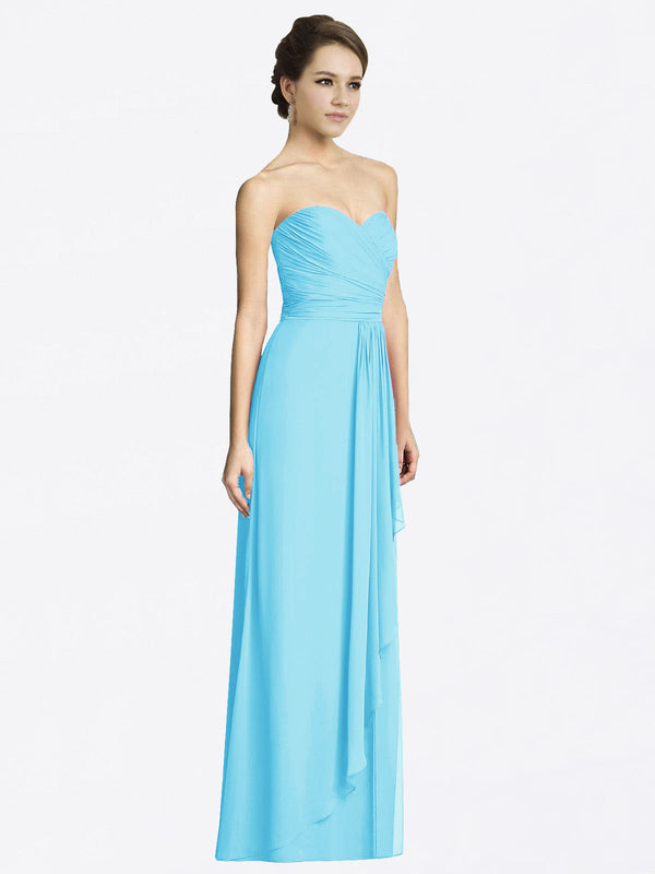 Long A-Line Sweetheart Sleeveless Sky Blue Chiffon Bridesmaid Dress Jacqueline