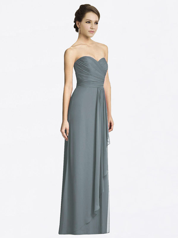 Long A-Line Sweetheart Sleeveless Slate Grey Chiffon Bridesmaid Dress Jacqueline