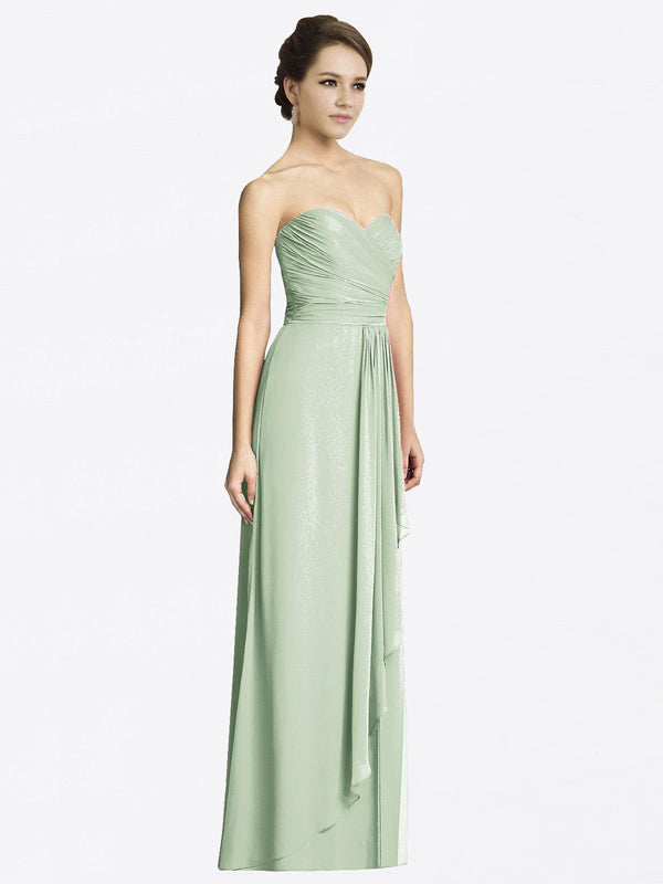 Long A-Line Sweetheart Sleeveless Smoke Green Chiffon Bridesmaid Dress Jacqueline