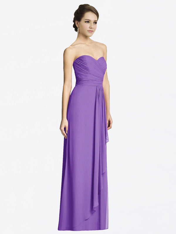 Long A-Line Sweetheart Sleeveless Tahiti Chiffon Bridesmaid Dress Jacqueline
