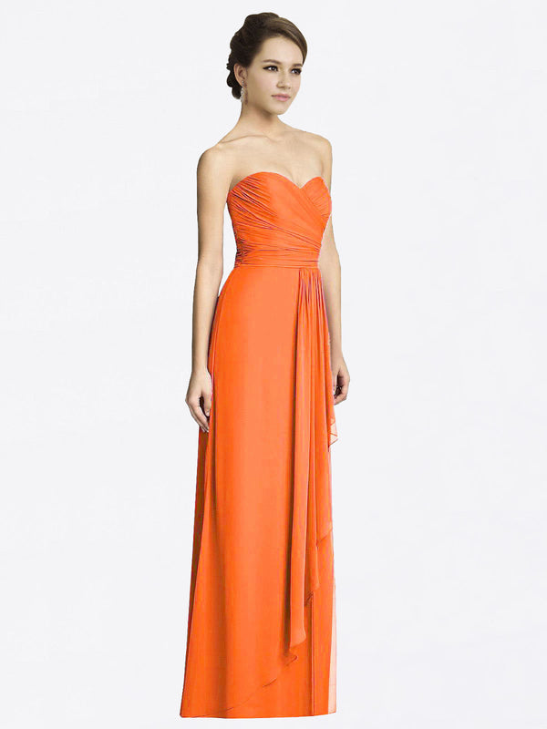 Long A-Line Sweetheart Sleeveless Tangerine Tango Chiffon Bridesmaid Dress Jacqueline