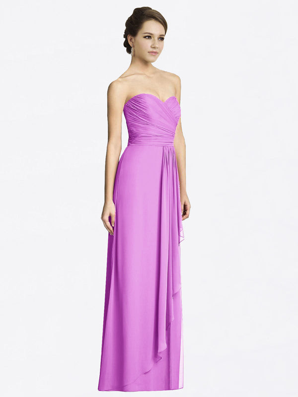 Long A-Line Sweetheart Sleeveless Violet Chiffon Bridesmaid Dress Jacqueline