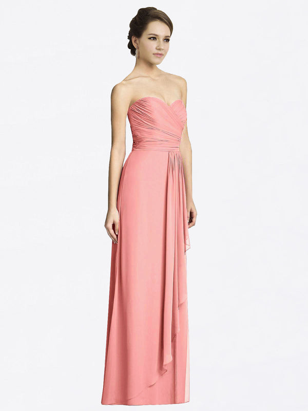 Long A-Line Sweetheart Sleeveless Watermelon Chiffon Bridesmaid Dress Jacqueline