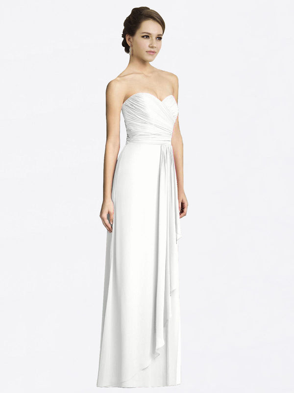 Long A-Line Sweetheart Sleeveless White Chiffon Bridesmaid Dress Jacqueline