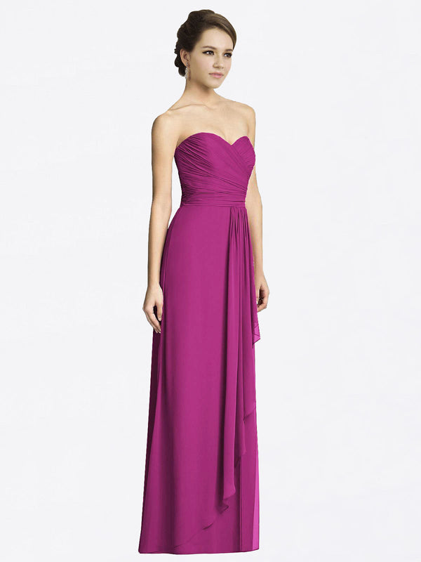 Long A-Line Sweetheart Sleeveless Wild Berry Chiffon Bridesmaid Dress Jacqueline