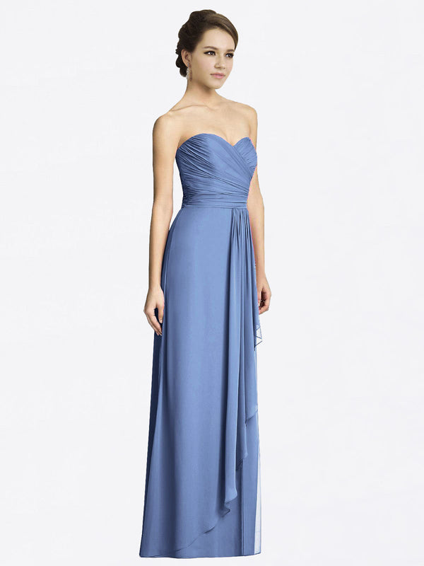 Long A-Line Sweetheart Sleeveless Windsor Blue Chiffon Bridesmaid Dress Jacqueline