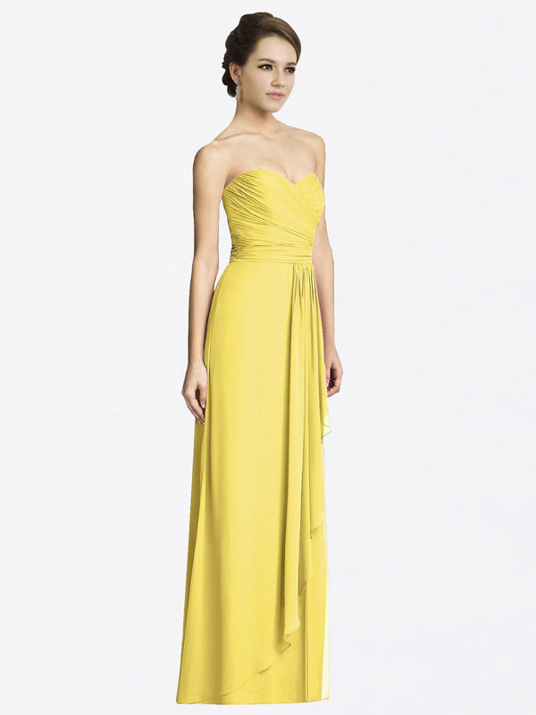 Long A-Line Sweetheart Sleeveless Yellow Chiffon Bridesmaid Dress Jacqueline